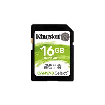 cartão de memória Kingston Technology Canvas Select, 16GB 16GB SDHC UHS-I Class 10  Preto