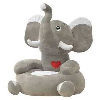 Cadeira em pelúcia vidaXL infantil elefante cinzento 50x47x55 cm