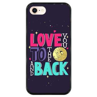 Capa Hapdey para iPhone 7 - 8 Design Love You to the Moon and Back em Silicone Flexível e TPU Preto