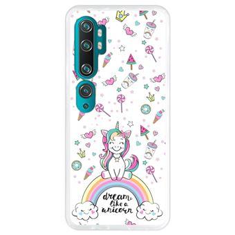 Capa Hapdey para Xiaomi Mi Note 10 - Note 10 Pro - CC9 Pro | Silicone Flexível em TPU | Design Arco-íris, sonhe como um unicórnio - Transparente