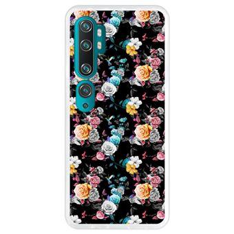 Capa Hapdey para Xiaomi Mi Note 10 - Note 10 Pro - CC9 Pro | Silicone Flexível em TPU | Design Teste padrão floral, flores multicoloridas - Transparente