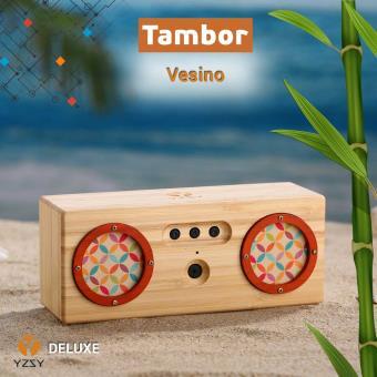 Coluna Deluxe YZSY Bluetooth Tambor Natural Bamboo Vesino