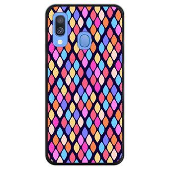 Capa Hapdey para Samsung Galaxy A40 2019 Design Losangos Coloridos em Silicone Flexível e TPU Preto