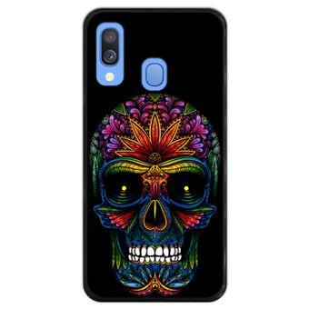 Capa Hapdey para Samsung Galaxy A40 2019 Design Caveira Dia dos Mortos em Silicone Flexível e TPU Preto