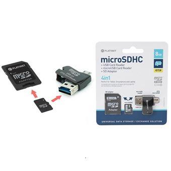 cartão de memória Platinet 8GB MicroSD + card reader + otg + adapter 8GB MicroSD  Preto