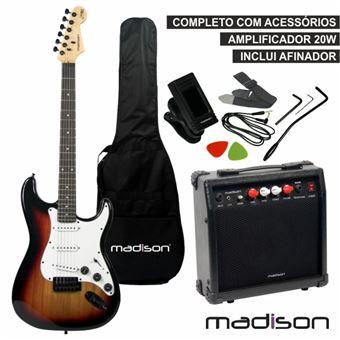Guitarra Elétrica Madison Stratocaster Amp Com Coluna 20W