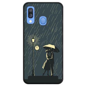 Capa Hapdey para Samsung Galaxy A40 2019 Design Casal Romântico à Chuva em Silicone Flexível e TPU Preto