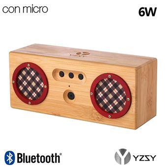 Coluna Deluxe YZSY Bluetooth Tambor Natural Bamboo Rosso