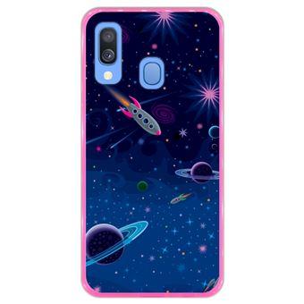 Capa Hapdey Para Samsung Galaxy A40 2019 Design Visão Cósmica Planetas e Naves Espaciais Capa de Silicone Flexível Em TPU - Rosa