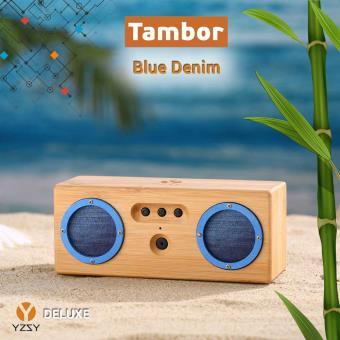 Coluna Deluxe YZSY Bluetooth Tambor Natural Bamboo Blue Denim