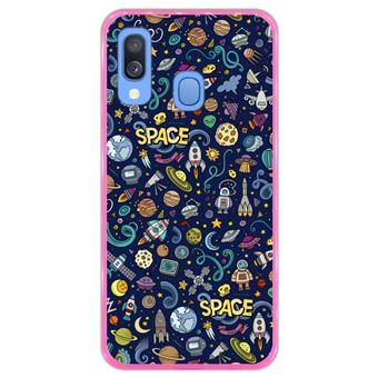 Capa Hapdey Para Samsung Galaxy A40 2019 Design Resumo Objetos e Símbolos Espaciais Capa de Silicone Flexível Em TPU - Rosa