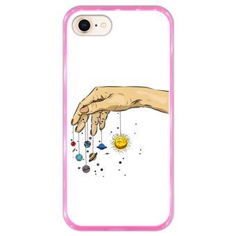 Capa Hapdey para iPhone 7 - 8 Design Planetas na Mão em Silicone Flexível e TPU Cor-de-Rosa