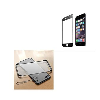 Kit Película de Vidro 5D Full Cover e Capa Naked Bumper Phonecare para iPhone 6 Plus - Preto / Transparente