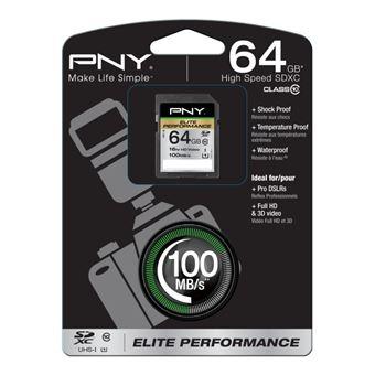 cartão de memória PNY 64GB SDXC  Class 10  Preto
