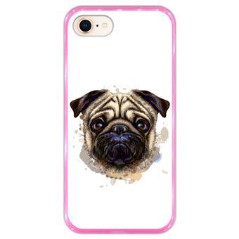 Capa Hapdey para iPhone 7 - 8 Design Retrato de Pug em Silicone Flexível e TPU Cor-de-Rosa
