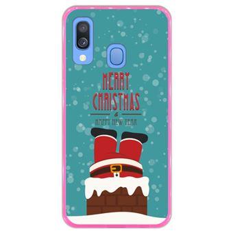 Capa Hapdey Para Samsung Galaxy A40 2019 Design Natal Pai Natal Está Descendo a Chaminé Capa de Silicone Flexível Em TPU - Rosa