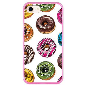 Capa Hapdey para iPhone 7 - 8 Design Donuts de Chocolate em Silicone Flexível e TPU Cor-de-Rosa