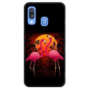 Capa Hapdey para Samsung Galaxy A40 2019 Design Flamingos ao Pôr-do-Sol em Silicone Flexível e TPU Preto
