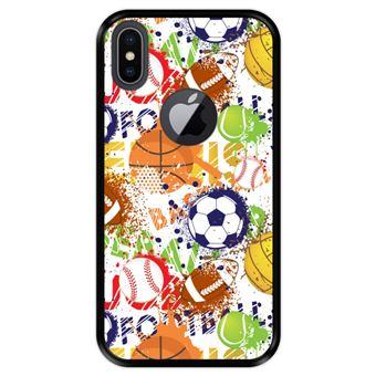 Capa Tpu Hapdey para Iphone X - Xs | Design Padrão de Esportes com Bolas 1 - Preto