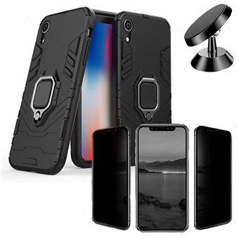 Kit Película 5D Anti-Spy + Capa 3X1 Military Defender + Suporte Magnético Carro Phonecare para Iphone XR Preto