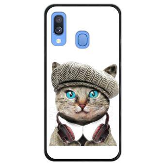 Capa Hapdey para Samsung Galaxy A40 2019 Design Gato Britânico Engraçado em Silicone Flexível e TPU Preto