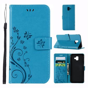 Capa Magunivers PU borboleta flor azul para Samsung Galaxy J6+
