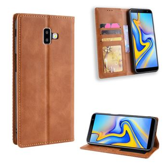 Capa Magunivers PU estilo vintage marrom para Samsung Galaxy J6 Plus