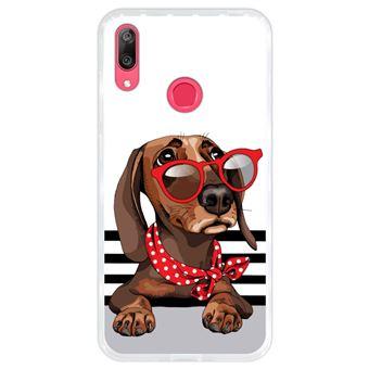 Capa Hapdey para Huawei Y7 2019 - Y7 Prime 2019 Design Dachshund Bebé com Óculos Vermelhos em Silicone Flexível e TPU