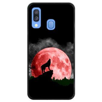Capa Hapdey para Samsung Galaxy A40 2019 Design Lobo a Uivar para Lua Vermelha em Silicone Flexível e TPU Preto