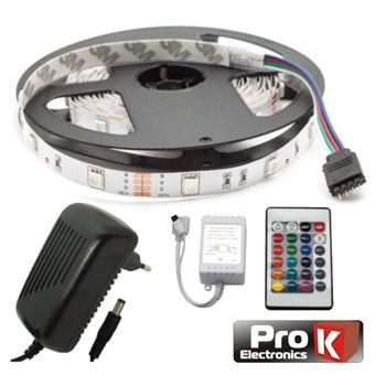 Kit Fita LEDs Prok Fita 150 LEDs 5050 12V 5M Rgb Comcontrol Alim Ip20