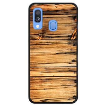 Capa Hapdey para Samsung Galaxy A40 2019 Design Madeira em Silicone Flexível e TPU Preto