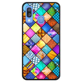 Capa Hapdey para Samsung Galaxy A40 2019 Design Mosaico Gráfico em Silicone Flexível e TPU Preto