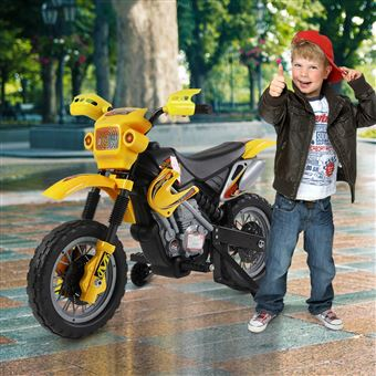 Moto Elétrica HomCom com Rodas Apoio Amarela