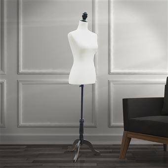 Manequim Feminino de Costura HOMCOM Busto de Senhora para Modistas Exibição Altura Ajustável a 130-168cm | Branco