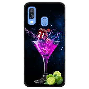 Capa Hapdey para Samsung Galaxy A40 2019 Design Cocktail de Dados e Limão em Silicone Flexível e TPU Preto