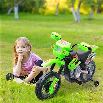 Moto Elétrica HomCom com Rodas Apoio Verde