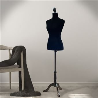 Manequim Feminino de Costura HOMCOM Busto de Senhora para Modistas Exibição Negro Altura Ajustável a 130-168cm
