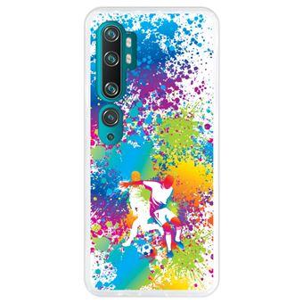 Capa Hapdey para Xiaomi Mi Note 10 - Note 10 Pro - CC9 Pro | Silicone Flexível em TPU | Design Jogadores de futebol abstratos, multicoloridos - Transparente