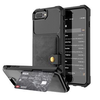 Capa Magunivers PU revestido com folha built-in preto para Apple iPhone 8 Plus/7 Plus/6s Plus/6 Plus 4.7 inch