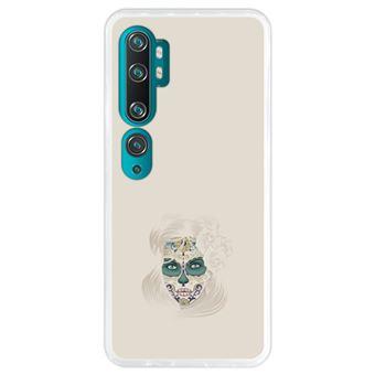 Capa Hapdey para Xiaomi Mi Note 10 - Note 10 Pro - CC9 Pro | Silicone Flexível em TPU | Design Dia dos mortos, senhora caveira de açúcar - Transparente