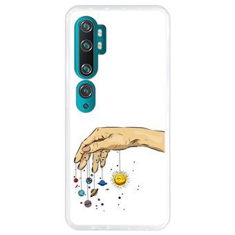Capa Hapdey para Xiaomi Mi Note 10 - Note 10 Pro - CC9 Pro | Silicone Flexível em TPU | Design Planetas à mão - Transparente