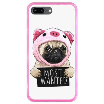 Capa Hapdey para iPhone 7 Plus - 8 Plus Design Pug Vestido de Porco Most Wanted em Silicone Flexível e TPU Cor-de-Rosa