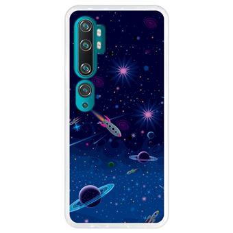 Capa Hapdey para Xiaomi Mi Note 10 - Note 10 Pro - CC9 Pro | Silicone Flexível em TPU | Design Visão cósmica, planetas e naves espaciais - Transparente