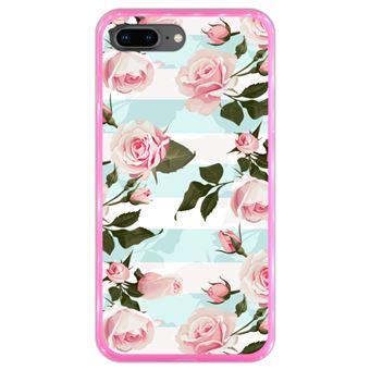 Capa Hapdey para iPhone 7 Plus - 8 Plus Design Floral Rosas em Silicone Flexível e TPU Cor-de-Rosa