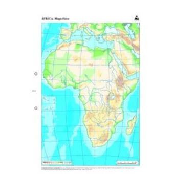 Mapa Físico De áfrica Mudo.Paq 50 Mapas Africa Fisico Mudos