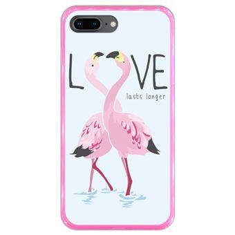 Capa Hapdey para iPhone 7 Plus - 8 Plus Design Flamingos Love Lasts Longer em Silicone Flexível e TPU Cor-de-Rosa