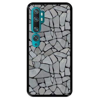 Capa Tpu Hapdey para Xiaomi Mi Note 10 - Note 10 Pro - Cc9 Pro | Design Mosaico de Parede de Pedra Abstrato e Moderno - Preto