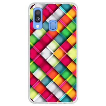 Capa Hapdey para Samsung Galaxy A40 2019 Design Abstrato Mosaicos Geométricos Modernos em Silicone Flexível e TPU