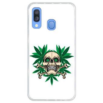 Capa Hapdey para Samsung Galaxy A40 2019 Design Caveira Cannabis em Silicone Flexível e TPU