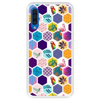 Capa Tpu Hapdey para Samsung Galaxy A50 2019   Design Padrão Exótico   Pássaros e Flores - Transparente